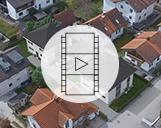 Drohnenvideo einer Wohnsiedlung mit einer 3D-Visualisierung zweier Wohnimmobilien und ihrer Umgebung