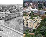 Kombinationsbild aus dem zu bebauenden Grundstück und der 3D-Visualisierung des Einkaufszentrums bei Hamburg