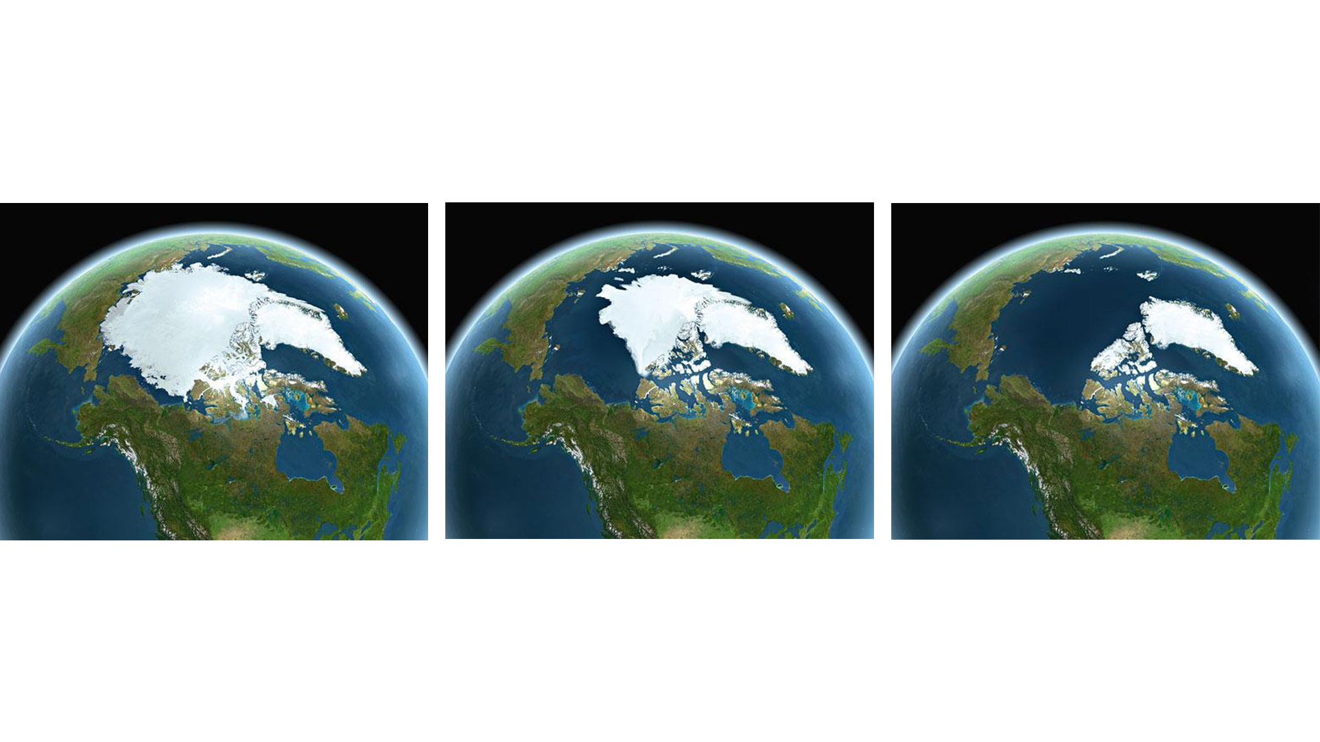 Earth with melting ice masses