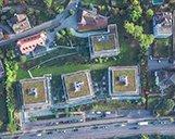 Luftbild der Nestlé Nespresso Gebäude in Lausanne aus der Vogelperspektive