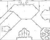 Ein Dachaufmass von einer Wohnimmobilie inklusive der Einzeichnung aller Kantenlängen des Daches.