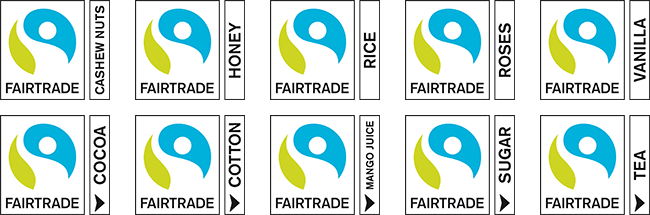 Sample Fairtrade Sourced Ingredient Marks