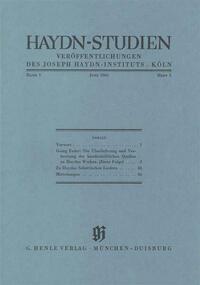 Haydn Studien. Veröffentlichungen des Joseph Haydn-Instituts Köln. Band I, Heft 1, Juni 1965