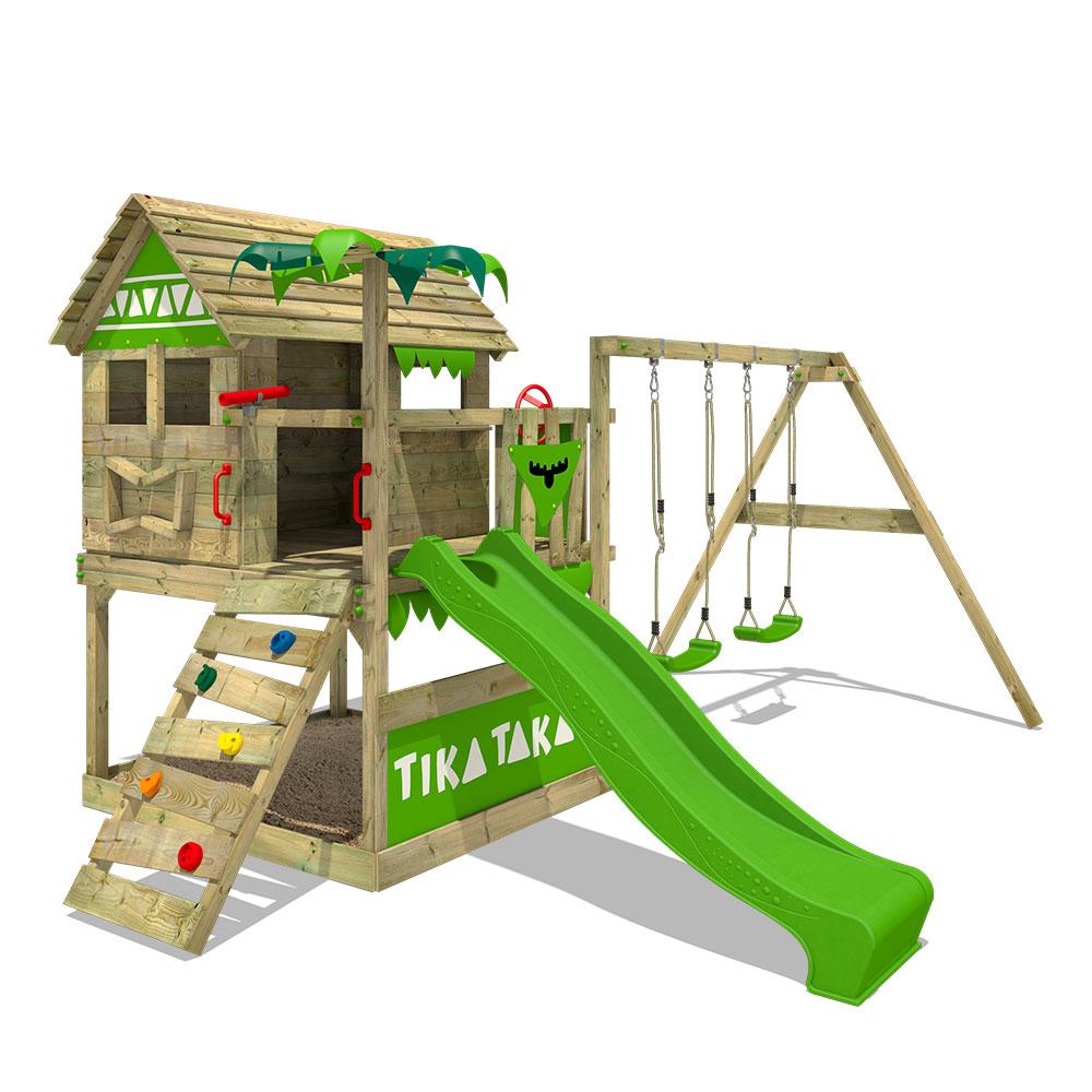 Super FATMOOSE Spielturm Kletterturm TikaTaka Town XXL Garten DP37