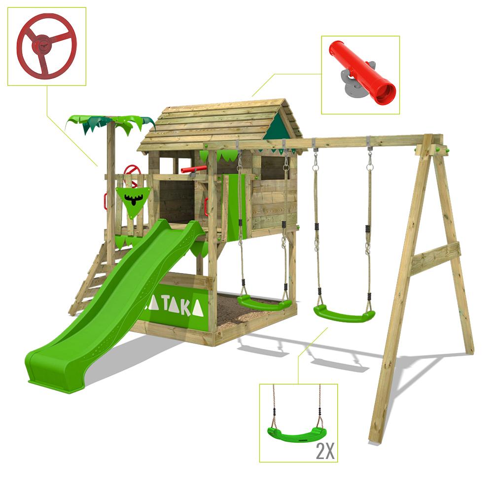 FATMOOSE Spielturm Kletterturm TikaTaka Town XXL Garten Doppelschaukel Rutsche   eBay
