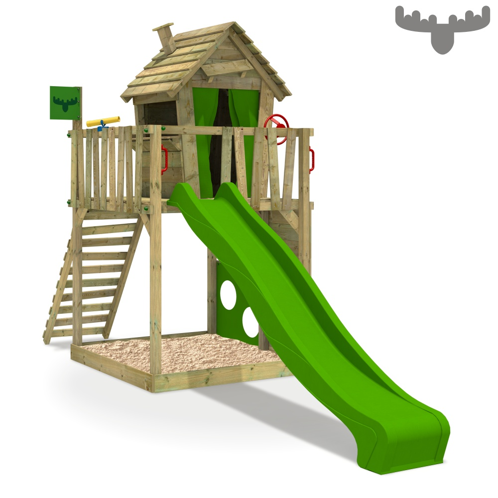 fatmoose happyhome hot xxl spielturm baumhaus kletterturm schaukel rutsche holz ebay. Black Bedroom Furniture Sets. Home Design Ideas