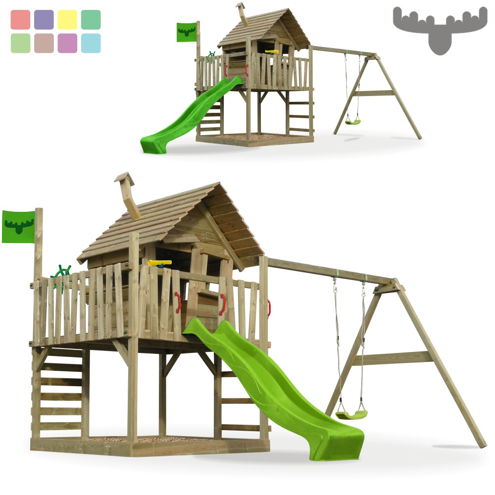 fatmoose wackyworld mega xxl spielturm kletterturm schaukel baumhaus holz ebay. Black Bedroom Furniture Sets. Home Design Ideas
