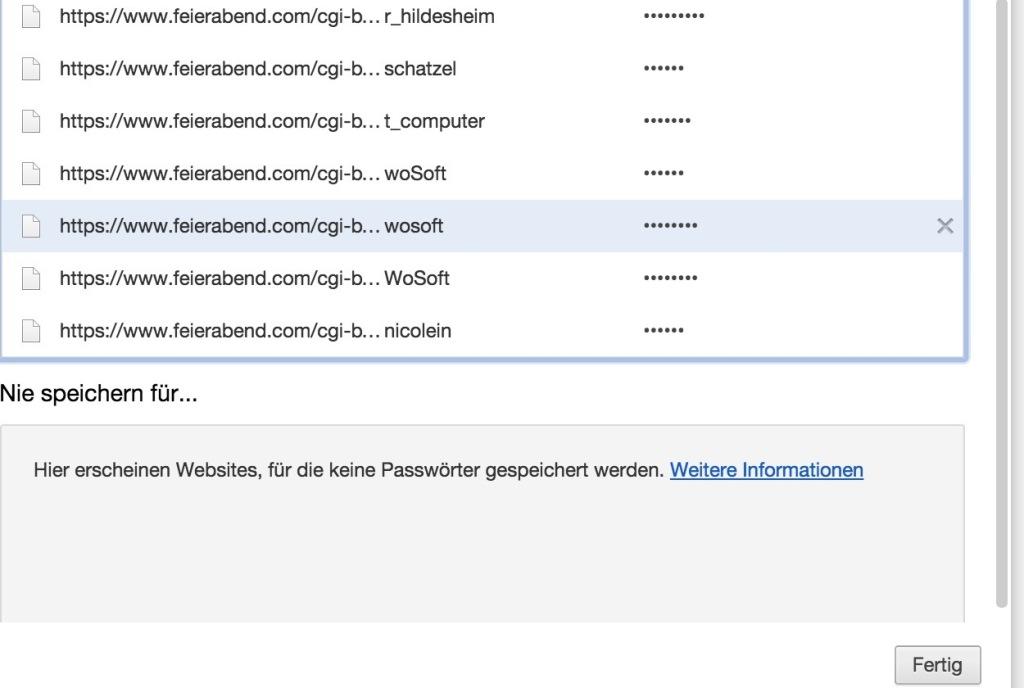 Liste PSW Chrome