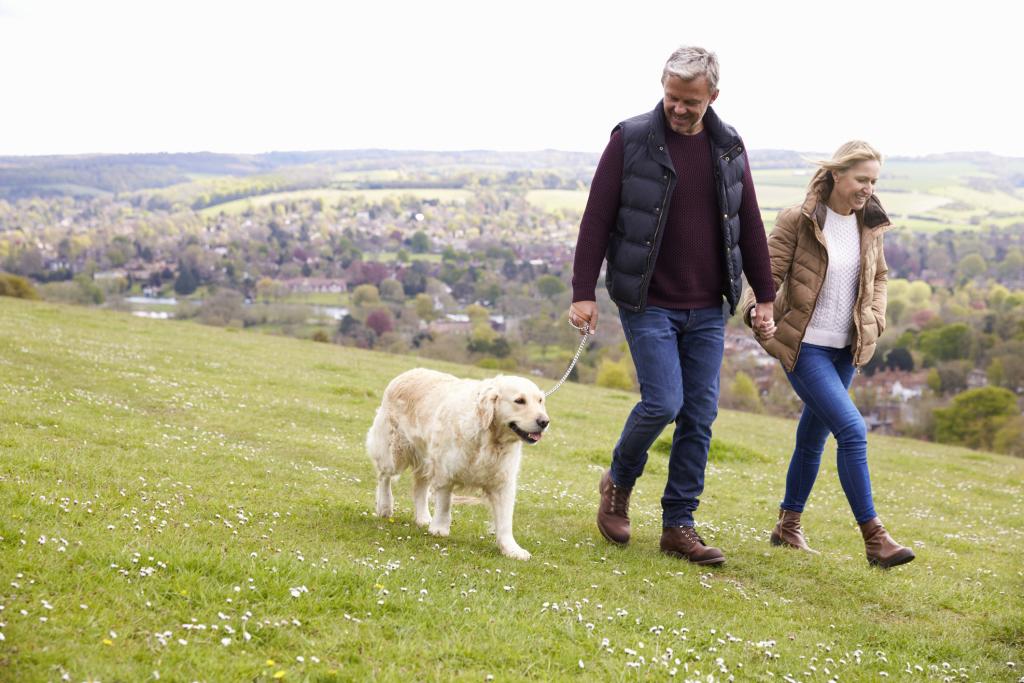 Paar mit Hund beim Wandern