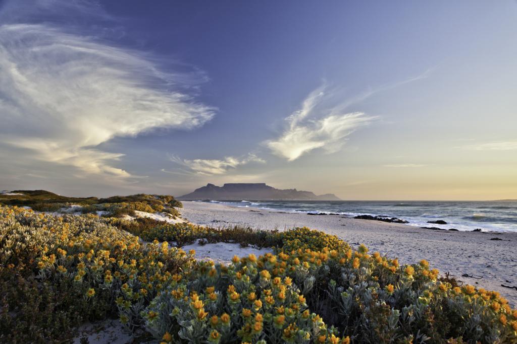 Blick auf Tafelberg in Südafrika vom Strand