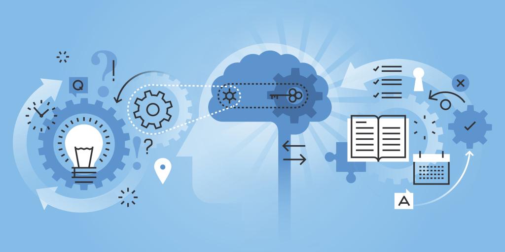 Illustration Gehirn und viele Aufgaben
