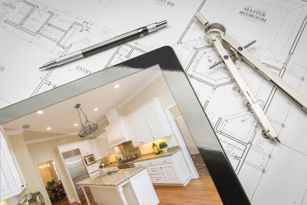 Skizze Eines Wohnbau und Tablet Vorschau