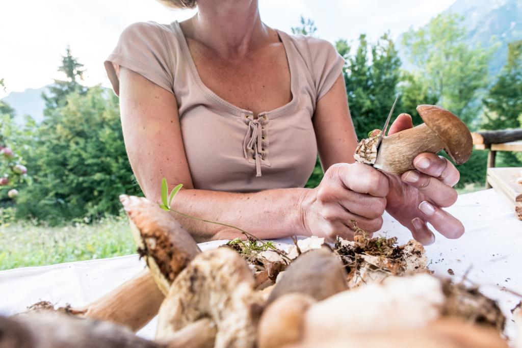 Frau putzt einen Korb voll Pilze