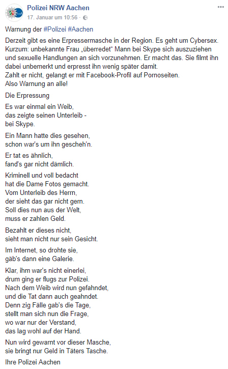 Screenshot Facebook-Post der Polizei Aachen