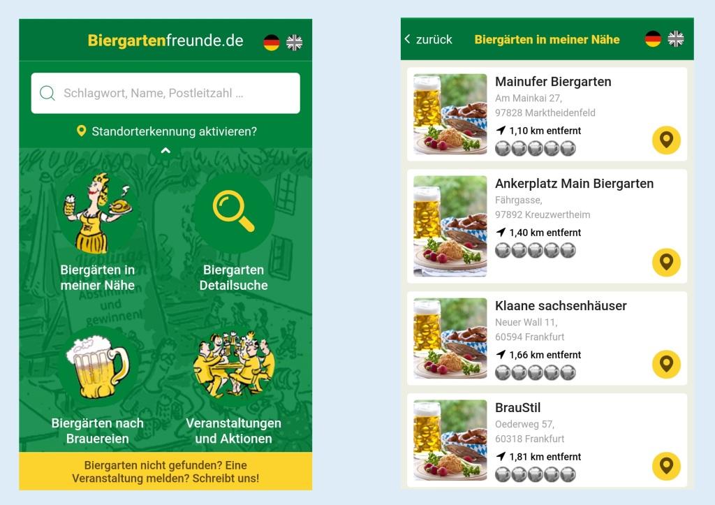 Screenshots der App Biergartenfreunde.de