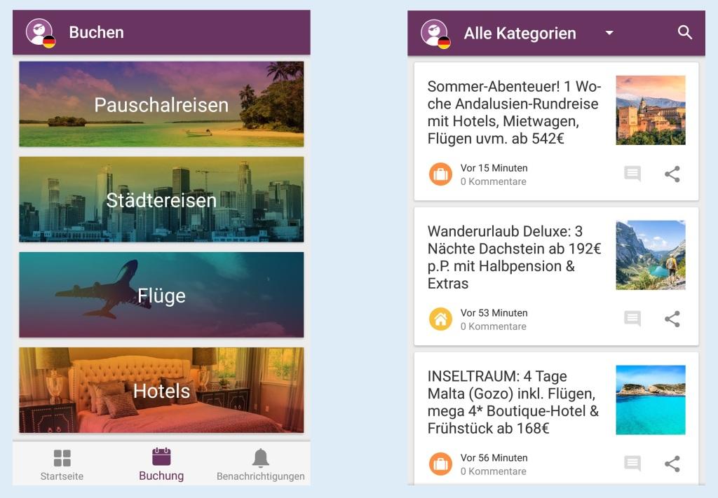 Screenshots der App Urlaubspiraten