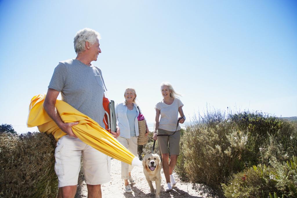 drei Personen mit gehen an den Strand