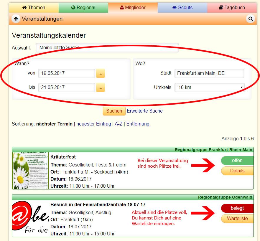 Screenshot Veranstaltung suchen