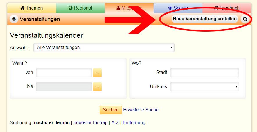 Screenshot Veranstaltung erstellen