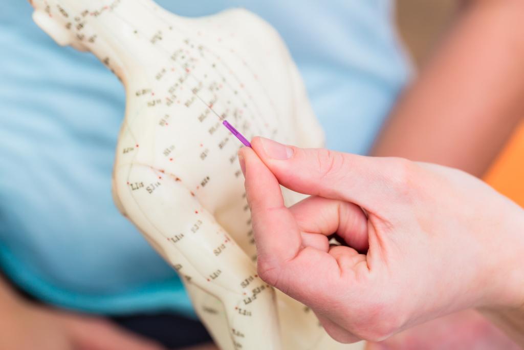 Arzt zeigt Energielinien im Körper an einer Figur