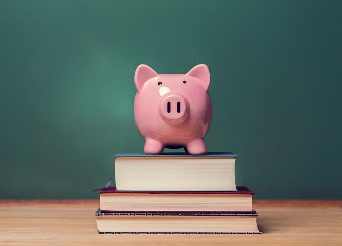 Sparschwein auf Büchern stehend