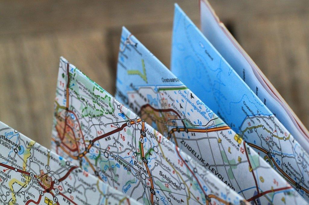 Gefaltete Straßenkarte