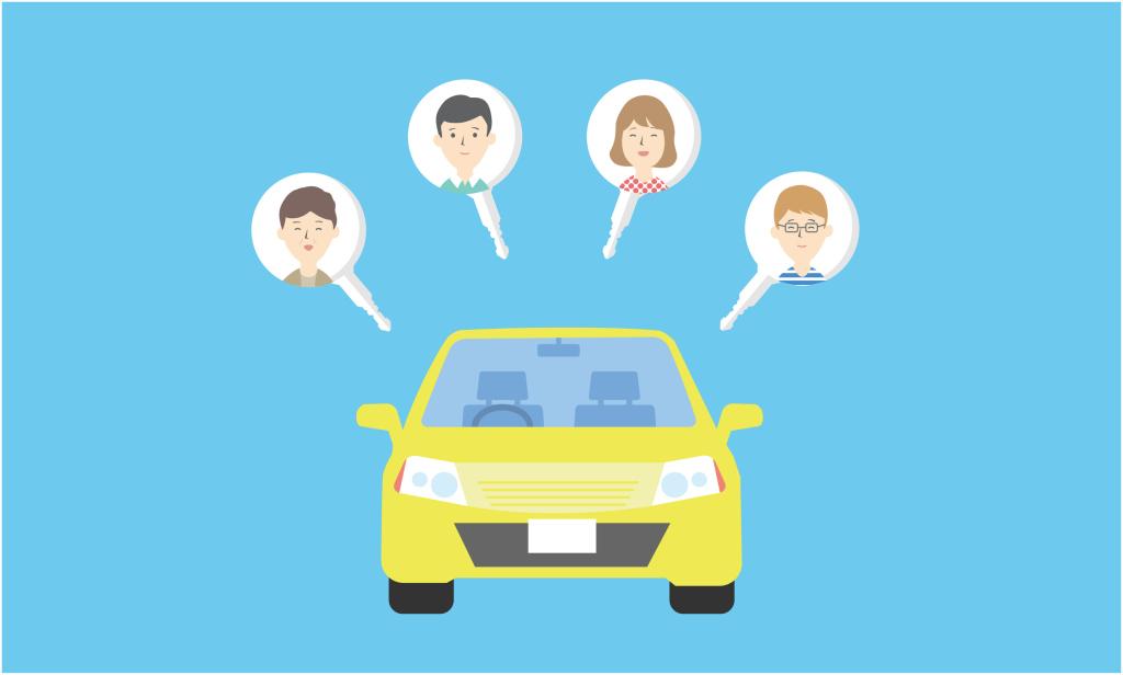 Zeichnung eines gemeinsam genutzten Autos