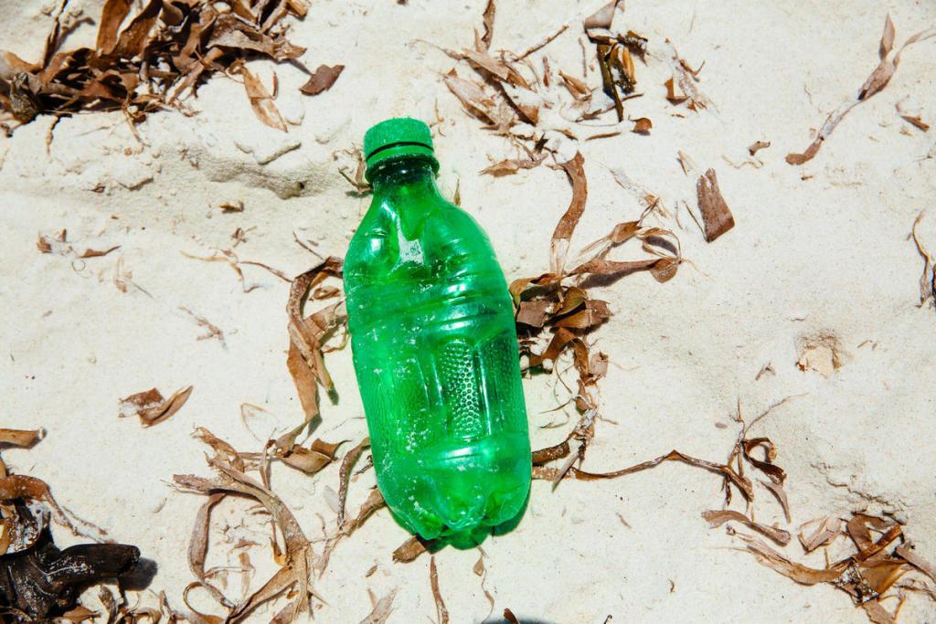 Plastikflasche am Strand