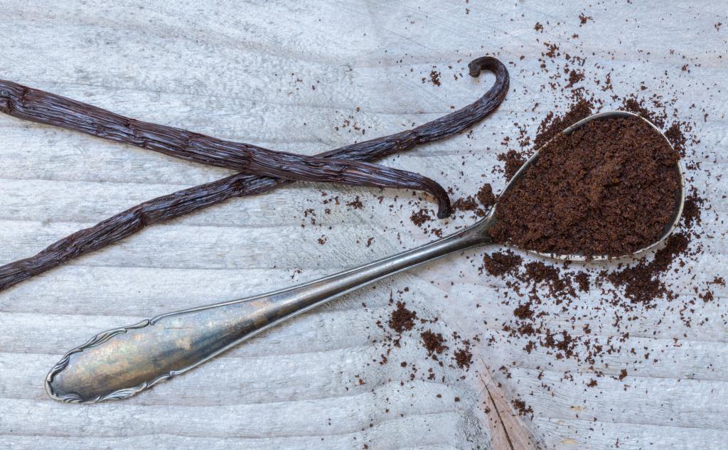 Vanilleschote und Löffel mit Vanillextrakt