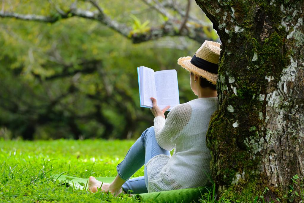 Lesende Frau unter einem Baum