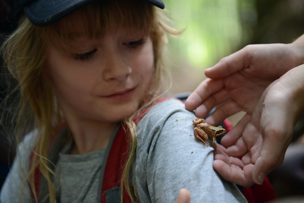 Kind mit Frosch