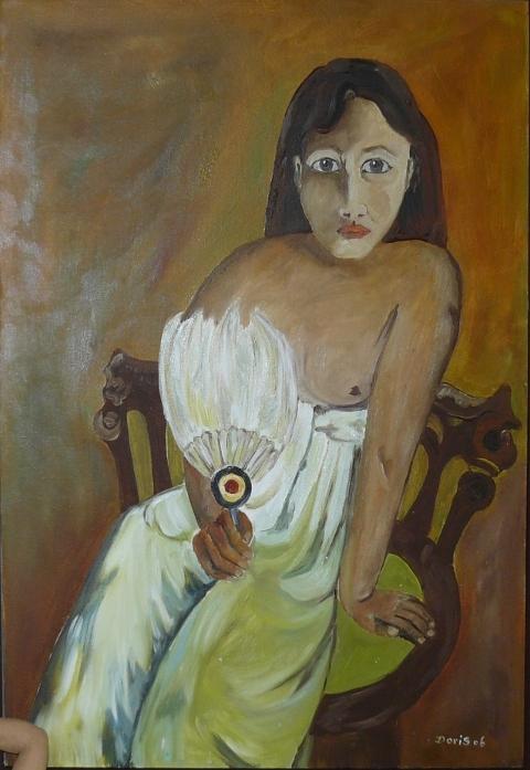 Mädchen mit Fächer nach Gauguin