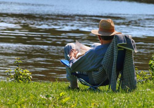 Mann liest auf Wiese