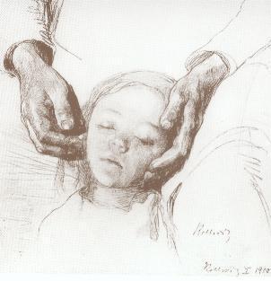 Mädchenkopf mit Mutterhänden