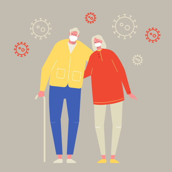 Zeichnung eines älteren Paars mit Maske