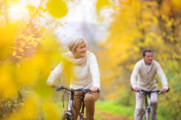 Senioren mit Fahrrädern im Herbstwald