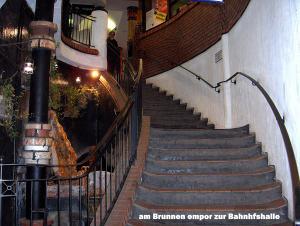 Treppe mit Brunnen