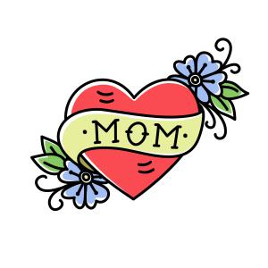 Tattoo Herz mit dem engl. Wort für Mutter