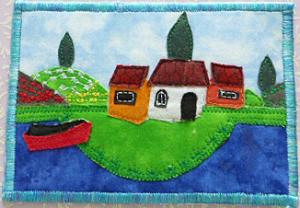 P1050071.JPG  Häuser auf einer Insel ( nach naiver Malerei genäht )