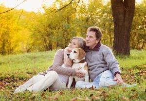 Paar in der Natur mit einem Hund