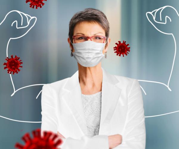 Frau schützt sich vor Viren