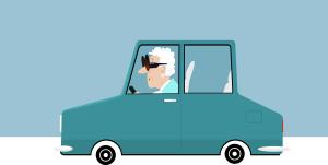 Zeichnung eines Seniors am Steuer eines Autos