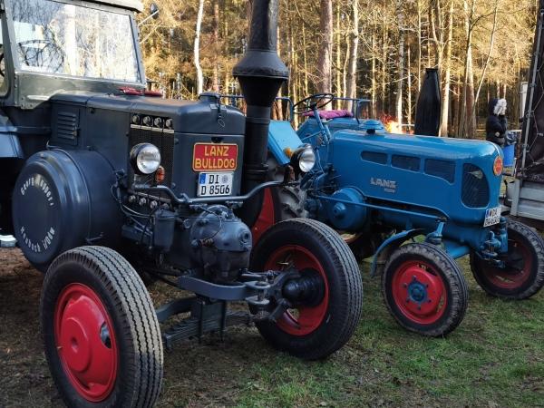 Traktoren bei der jährlichen Holzversteigerung in Rdg.-Ddh.