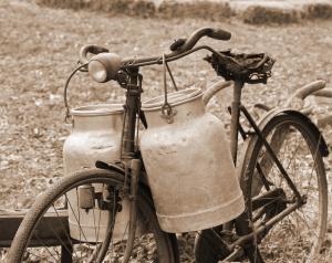 Fahrrad und Milchkannen aus dem 20. Jahrhundert