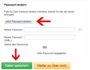 Screenshot Passwort ändern