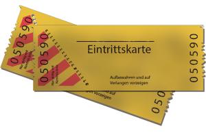 Zwei gelbe Eintrittskarten