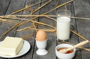 Milch, Eier, Honig und Butter