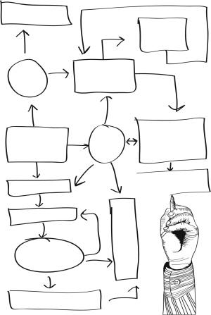 Leeres Diagramm mit Hand