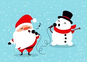 Zeichnung eines singenden Weihnachtsmannes