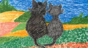 Gemälde von 2 Katzen